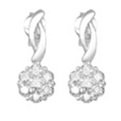 Diamond Earrings Dangle Sterling Silver   New Comes with Gold pouch