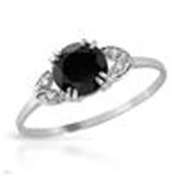 GENUINE DIAMOND & ONYX STERLING SILVER RING