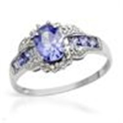 GENUINE DIAMOND TANZANITE RING 10K WHITE  GOLD