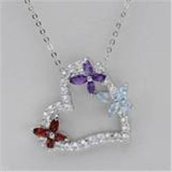 GENUINE GEMSTONE PENDANT NECKLACE  Amethyst, Garnet & Topaz Heart Necklace in 925 Sterling Silver.