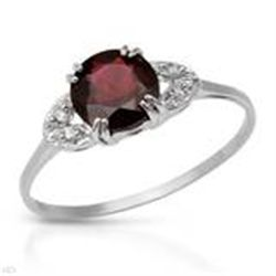 GENUINE STERLING SILVER & GARNET RING