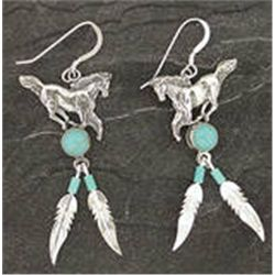 Genuine Sterling Silver & Turquoise Horse Feather Dangle Earrings