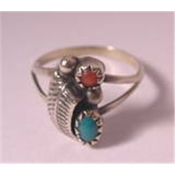 NAVAJO  STERLING SILVER  RED CORAL & GREEN TURQUOISE STONE RING  sz 5 VTG 50'S