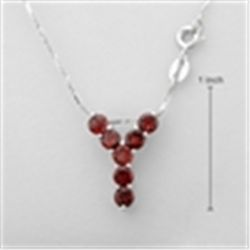 "STERLING SILVER .925 & GENUINE GARNET "" Y""  NECKLACE"