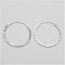 Sterling Silver Hoops Earrings  1.6g   25mm Diameter  New