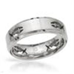 TITANIUM RING SZ 10 WITH CROSS