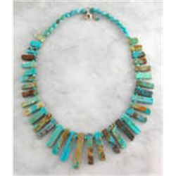 Turquoise & Genuine Sterling Silver Green  Stick Necklace Choker Southwest .925 Jewelry