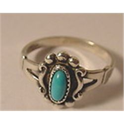 VTG 50'S ARTIST SIGNED BLUE TURQUOISE STONE STERLING SILVER DAINTY RING 6 1/2