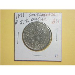 1861 CONFEDERATE 1/2 DOLLAR(re-strike)