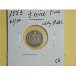 1853 1/2 DIME WITH ARROW