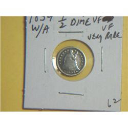 1854 1/2 DIME WITH ARROW