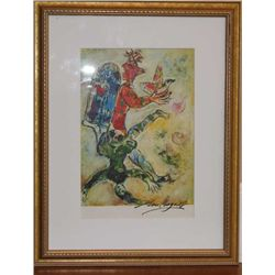 Marc Chagall Hand Signed Lithograph In Colors
