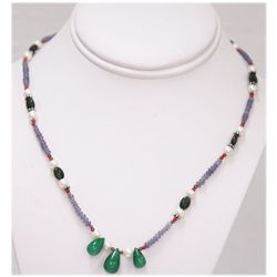 NATURAL 78.00 CTW TANZANITE EMERALD AND MIXED SEMI- PRE