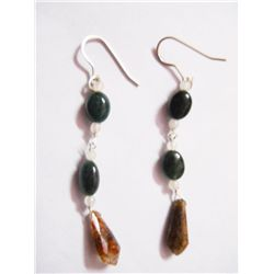 NATURAL 16.05 CTW BLACKONEX, SEMIPRECIOUS EARRING .925