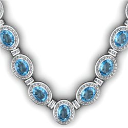 Certified 44.85 ctw Topaz Diamond Necklace 14k
