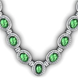 Certified 36.35 ctw Emerald Diamond Necklace 14k