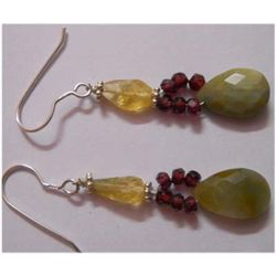 Natural 20.35 ctw Semi Precious Earring .925 Sterling
