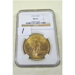 1914 D $20.00 Dollar Gold Coin MS63