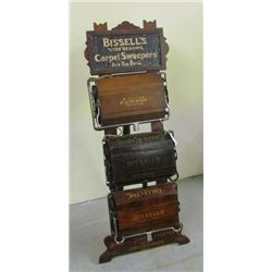 Very Rare 1870 - 1890 Original Bissells Carpet Sweeper Display with Samplers in Original Condition