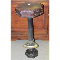 1800s Original Railroad Iron Stool From NY Central Station with Original Seat