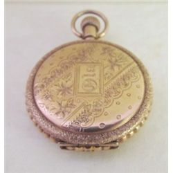 1800s Elgin 15 Jewel Ladies 14K Gold Keystone Pocket Watch with Dust Cover