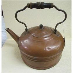 Large 1800's Copper Tea Pot w/original wooden handle