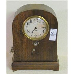"Rare Walnut Cased Clock Keywind marked Call Me 11"" Tall"