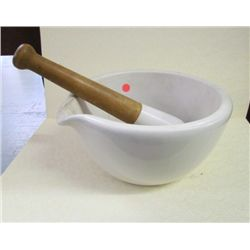 "Coors USA Mortar and Pestle 11"" diameter 5.5"" tall"