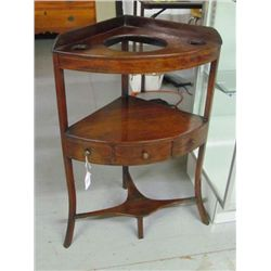 1700's Chippendale Line inlay Corner Washstand in original condition, having 3 tiers w/center housin