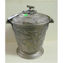 "Ornate Italian Ice Bucket - grapes and vines in relief - 13.5 "" tall x 10.5"" diameter"