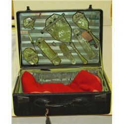 Original 1920s Ladies Vanity Traveling Set in Original Cowhide Carrying Case