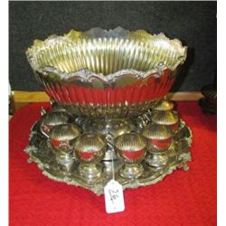Silver-plate -Birmingham Silver Company, Yalesville CT  Large Punch Bowl, Footed Under plate and 12
