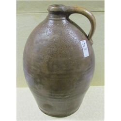 "Ovoid Late 1700s 2 Gallon Stoneware Jug with Concentric Lines Around Lip 16"" Tall"