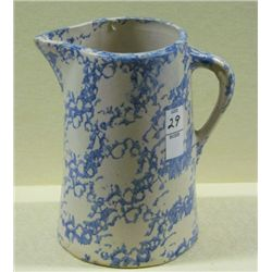 "1800s blue on White 1 Half Gallon Spongeware Pitcher 9"" Tall"
