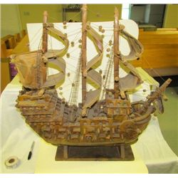 1800s Hand Crafted Spanish War Ship in Wood with Great Detail