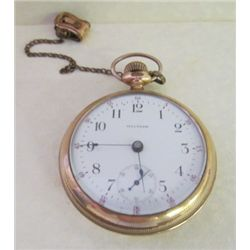 Waltham 1800s Mens 14 K Gold Pocket Watch with Watch Fob