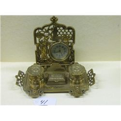 English Brass Clock with Double Ink Well and Center Pen Holder with Full Figure Lady