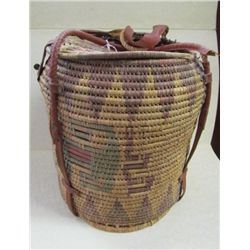 "Indian Design Grain Basket with Lid - some age damage - leather handles and clasp - 13.5"" x 10"" diam"