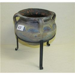 "Indian Design Pottery with metal stand overall height in stand is 9.5"" x 6.5 diameter"