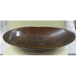 "1800s Handmade Wooden Dough Bowl with Carved Inset Handle 25"" x 13"""
