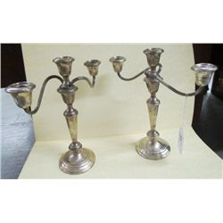 "Pair of Gorham Sterling three light Puritan Candelabras  weighted 808-1 - 11.5"" tall"