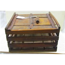 1800s Original Wooden Egg Crate with Wire Handle