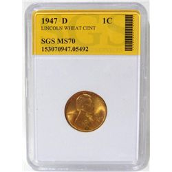 1947-D Lincoln Wheat Cent SGS MS70