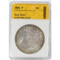 1886-P Morgan Silver Dollar SGS MS67