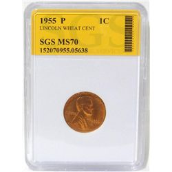 1955-P Lincoln Wheat Cent SGS MS70