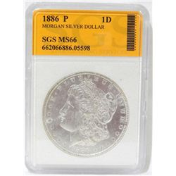 1886-P Morgan Silver Dollar SGS MS66