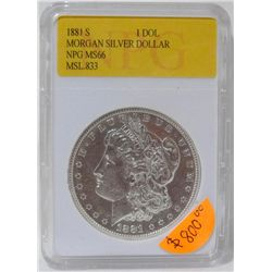 1881-S Morgan Silver Dollar NPG MS66