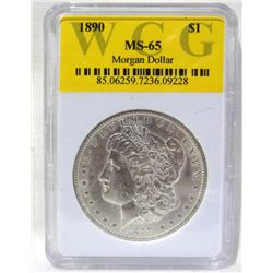 1890 Morgan Silver Dollar WCG MS65