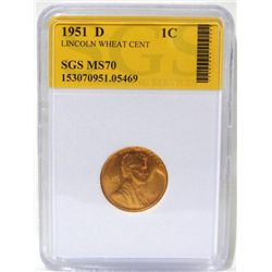 1951-D Lincoln Wheat Cent SGS MS70
