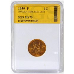 1959-P Lincoln Memorial Cent  SGS MS70